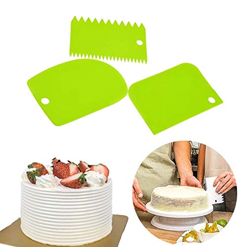 Grizzly 3pcs/Set Plastic Dough Bench Scraper Cake Cutter, Chopper, Smoother Icing Fondant Cake Decorating Pastry Baking Tool (Color May Vary)