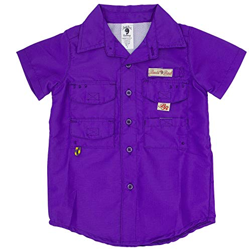 Bull Red Toddlers Purple PFG Vented Fishing Shirt Button Up, 3T