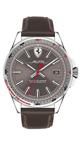 Scuderia Ferrari Reloj Analógico para Hombre de Cuarzo con Correa en Cuero 830488