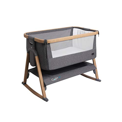 Tutti Bambini CoZee® Air Bedside Crib/Co-Sleeper Rocker with Breathable Window, Travel Bag and Easy Fold (Oak & Charcoal)