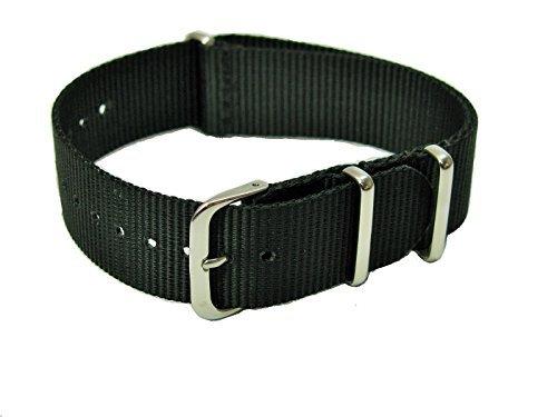 Bracelet de Montre en Nylon 18mm Style NATO Noir