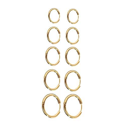 NaiCasy Pendientes del aro Pendientes Redondos del círculo de Acero Inoxidable Grueso aro de Juego de Joyas para la Mujer de la Muchacha de los Hombres de Oro 10PCS