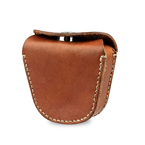 Kosibate Ammo Pouch, Genuine Leather Ammo Holder Bag Storage for .22 22LR .38 .45 Hunting Military Belt Gun Ammo Case Brown