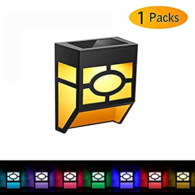 Solar Fence Lights, UBEGOOD Outdoor Waterproof Solar LED Wall Lights for Deck, Fence, Landscape, Steps, Stairs, Patio, Yard, Garden, 2 Modes - Warm Amber/Color Changing