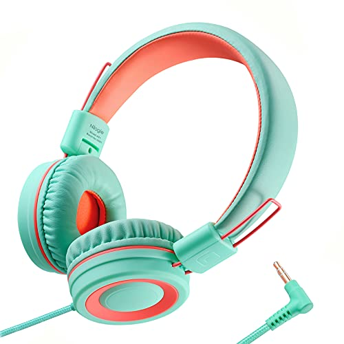 Nilogie A21 Kids Headphones for School/PC/Cellphone/Airplane Travel with 3.5mm Jack Children Boys Girls Foldable Wired On-Ear Headset (Mint Coral)