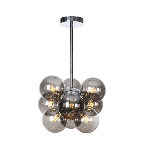 Ncloyn Moderne Sputnik 9 Flammig Kronleuchter, Nordeuropa Durchsichtige Lampenschirm Led G4 Pendelleuchte Metall Kronleuchterform Restaurant Wohnzimmer-bernstein