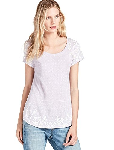 Lucky Brand - Women's - Lilac Placed Border Floral Print Linen Blend Tee (Small)