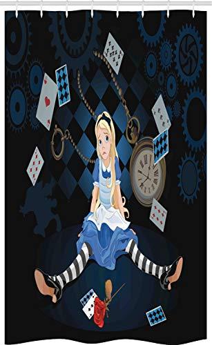 ABAKUHAUS Alice in Wonderland Douchegordijn, Rose Bloemen, voor Douchecabine Stoffen Badkamer Decoratie Set met Ophangringen, 120 x 180 cm, Veelkleurig
