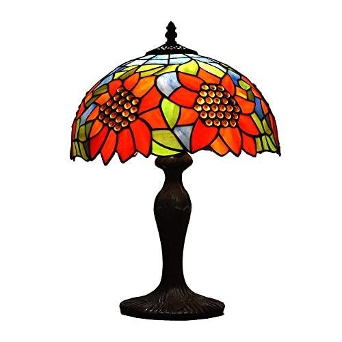 DALUXE Lámpara de Escritorio de Estilo Tiffany, lámpara de lámpara de Cristal de Alto Girasol de 12 Pulgadas, lámpara, lámpara, Apta para lámpara de Estudio de Sala de Estar de Dormitorio
