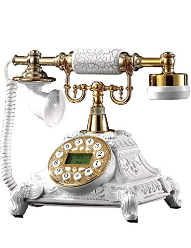 qwertyuio Nostálgicos Teléfonos De Teléfono De Época - Réplica De Teléfono Antiguo, Teléfono De Casa De Línea Fija Retro Vintage, Teléfono De Casa, Máquina con Cable Golden Fashion 60S Juego