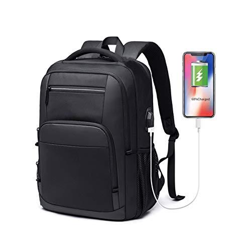Lpiotyudnb Mochila Nuevo Gran Capacidad de 15.6 Pulgadas Mochila de la Escuela Diaria Multifuncional USB Cargando Hombre portátil Mochila para Adolescente (Color : Black, Size : 15 Inches)