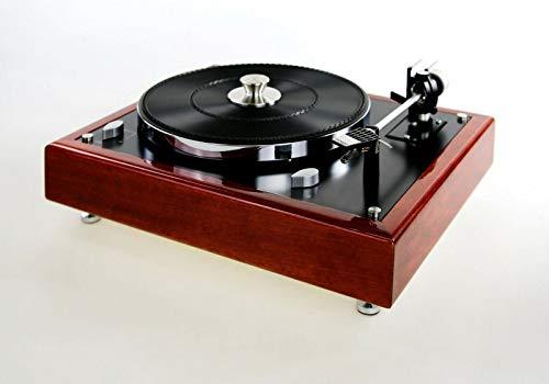 Restaurierter & modifizierter Thorens TD 165 Plattenspieler Turntable Zarge Kirschholz massiv, Mahagoni eingefärbt mit Glanzlackierung