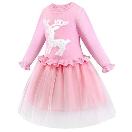 Sale!! Toraway Girls Party Dress Kids Girls Deer Christmas Xmas Knitted Party Tulle Swing Wedding Pr...