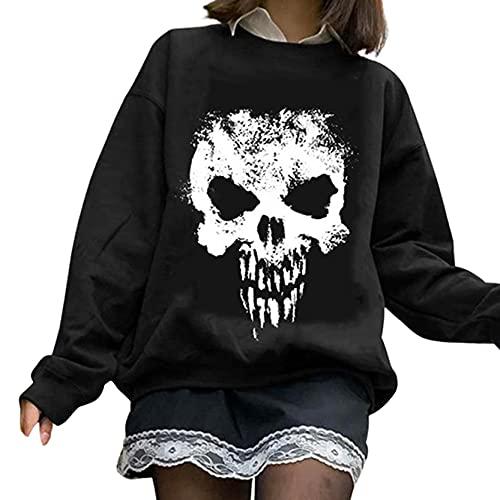 Sudaderas con capucha para mujer, Halloween, día de cráneo, impresión de agujero, sudadera de manga larga, sudadera con cremallera y cremallera para arriba, I-3, L