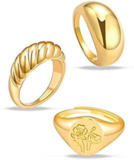 MOROTOLE 3Pcs Chunky Gold Rings Set for Women Thick Dome Rings 18K Gold Plated Croissant Braided Twisted Stacking Round Si...