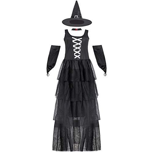milageto Disfraces de Bruja Sexis para Adultos, Disfraces de Bruja Negra, Disfraces de Carnaval para Mujeres, Disfraces de fantasía - L