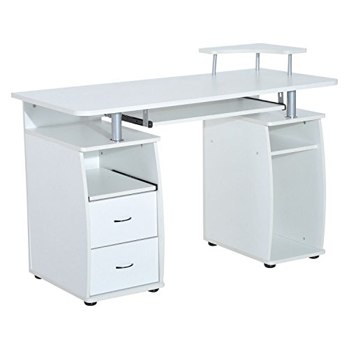 HOMCOM Wooden Office Computer PC Table Desk Desktop Home Furniture Workstation w/Drawers Shelves...