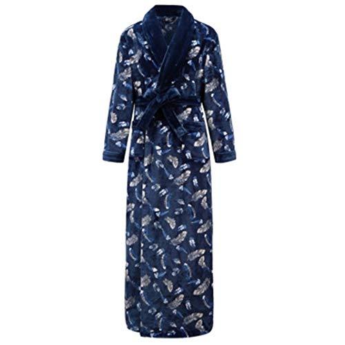 Pyjamas Winter Plus Samt Dicker Schlafanzug Herren und Damen super lang warm Flanell Bademantel Frauen bis zum Knöchel Gr. XX-Large, Blauer Mann 2