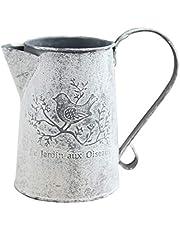 BESTOMZ フレンチスタイル素朴なぼろぼろのシックな花瓶亜鉛メッキプリミティブヴィンテージ花瓶金属投手花瓶プランターポットサイズl