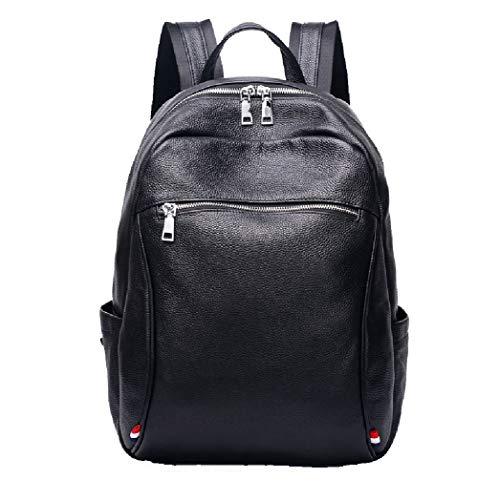 Lederen herenschouder laptop rugzak, waterdicht en slijtvast zacht ademend casual rugzak zwart