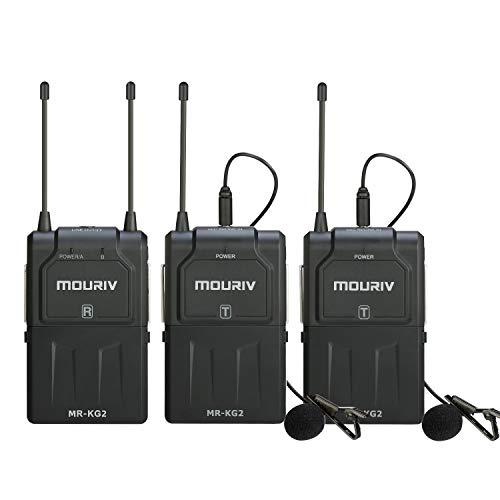 Microfono lavalier wireless UHF a 16 canali, MOURIV MR-KG2 Wireless Lav Mic System Due trasmettitori e un ricevitore compatibili con fotocamere DSLR, videocamere, iPhone, smartphone Android e tablet