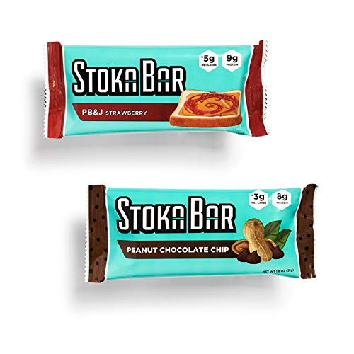 Stoka Bar   Peanut Variety Pack   All Natural Energy Bar   High Protein  Low Carb   Keto and Vegan Friendly   Assorted Flavors   8 Count