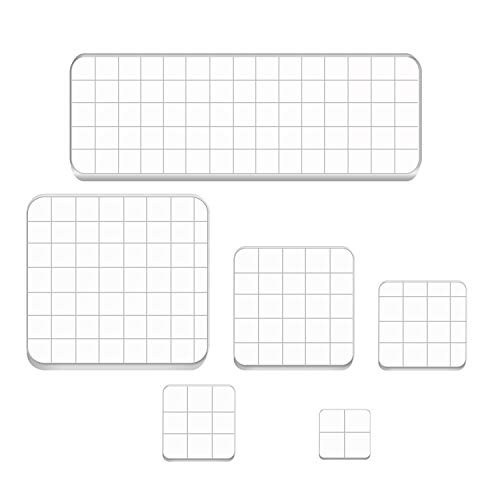 WeiMeet 6 Pieces Stamp Blocks Acrylic Clear Stamping Blocks Tools with Grid Lines for Scrapbooking Crafts Making