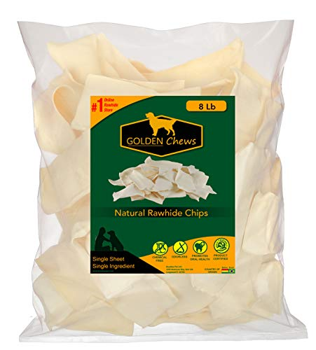 Golden Chews Natural Rawhide Chips – Premium Long -Lasting Dog Treats with Thick Cut Beef Hides (8 Pounds)