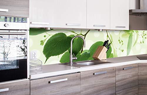 Küchenrückwand Folie selbstklebend - Grüne Blätter 260 x 60 cm