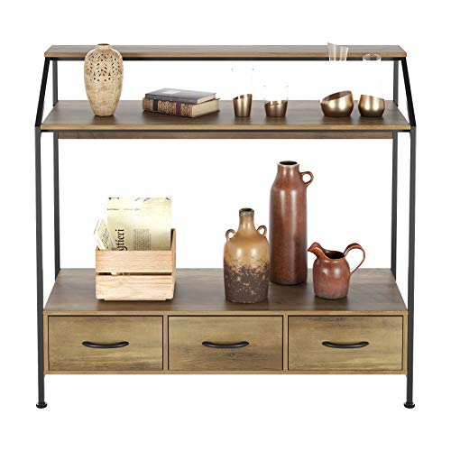 HOMECHO Tall Console Table with Fabric Drawers, Entryway Table with Storage Shelves, Narrow Sofa Hallway Table for Bedroom Living Room, Wood and Metal Frame, Rustic Brown