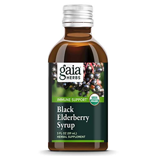 Gaia Herbs Black Elderberry Vegan Syrup, 5.4 Ounce - Sambucus Black Eldberberry Immune Support with Antioxidants USDA Organic