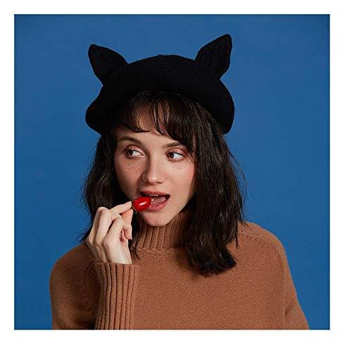 YLJYJ Gorra Endoscopio de Animales Boinas de Lana Sweet Lady Otoño Invierno Ajustable Sombrero Casual Lindo Gorro Encantador Tocado (Color: Negro, Siz (Espejo)