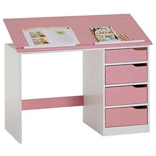 IDIMEX Kinderschreibtisch Emma, Jugendschreibtisch Schülerschreibtisch, Kiefer massiv, weiß/rosa, Platte neigungsverstellbar
