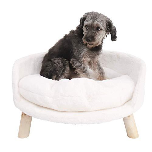 BingoPaw Sofá para Mascotas, Cama Elevada para Perros y Gatos, Silla de Gatos con Cojín Acolchado Cómodo y Patas de Madera, Estilo nórdico