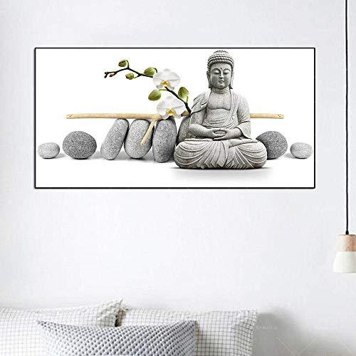 KWzEQ Imprimir en Lienzo Orquídea Blanca Estatua de Buda para Sala de Estar Cuadros Decorativos y Carteles Arte de la pared75x150cmPintura sin Marco