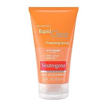 Neutrogena Rapid Clear Foaming Exfoliating Facial Scrub with Salicylic Acid Acne Medicine For Breakouts and Acne-Prone Skin 4.2 fl oz
