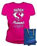 MAM0011 T-Shirt Maglietta Donna Super Mamma 3 Idea Regalo Festa della...