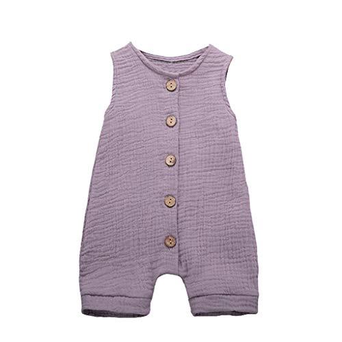 Xmiral Infant Baby Jungen Mädchen Weste Strampler Unisex Einfarbig Ärmellose Knöpfe Overall Plissee Baumwollmischung Bodys Playsuit(b Violett,12-18 Monate)