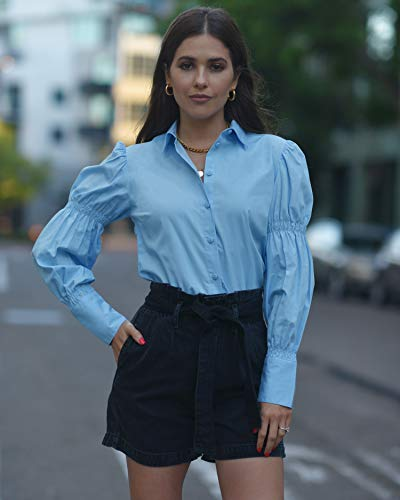 The Drop Women's Airy Blue Smocked Sleeve Button Down Shirt by @paolaalberdi