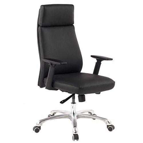 Amstyle Design Porto bureaustoel van echt leer, managerstoel met synchroonmechanisme, draaistoel met hoofdsteun, XXL, bureaustoel met armleuningen, zwart