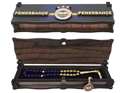 Gök-Türk Box Schatulle aus Holz Handgemacht & Tesbih Gebetskette 'Fenerbahce' für Fußballfans, ColorName:ohne Gravur