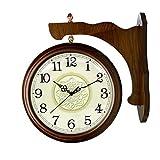 Reloj de pared de decoración de alta gama Reloj de pared de doble cara decorativo vintage Reloj de pared de pie de estilo antiguo Marco de madera y reloj de vidrio Sala de estar Reloj grande Mute On