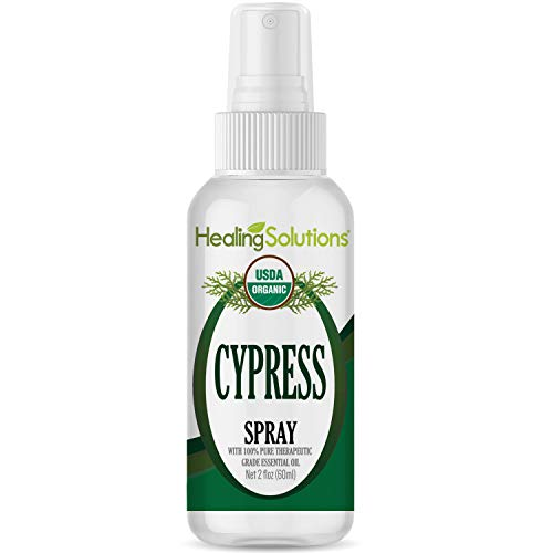 Organic Cypress Spray – Water Infused with Cypress Essential Oil – Certified USDA Organic - 2oz Bottle by Healing Solutions