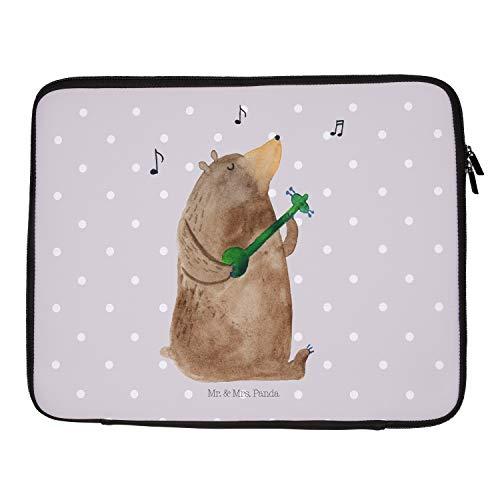 Mr. und Mrs. Panda Schutzhülle, Laptop, 33 x 42 Notebook Tasche Bär Gitarre - Farbe Grau Pastell