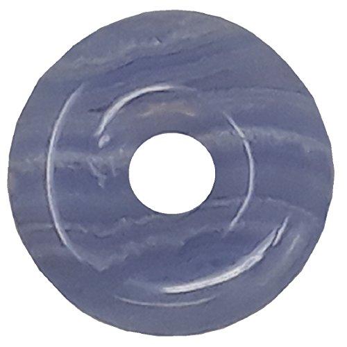 Chalcedon Donut als Geschenkset mit Lederkette, 30 mm - Calcedon Blue Lace