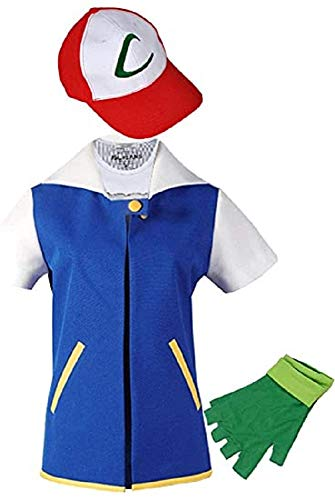 THYLL Cos Halloween Costume Adult Kids Hoodie Cosplay Jacket Gloves Hat Sets for Trainer Blue