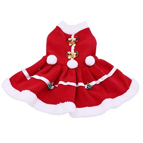 Flashing Vestido De Navidad para Perros Pao para Mascotas Invierno Lindo Vestido Clido para Perros Ropa para Perros Pequeos Medianos Tamao con Collar (Color : B, Size : Xlarge)