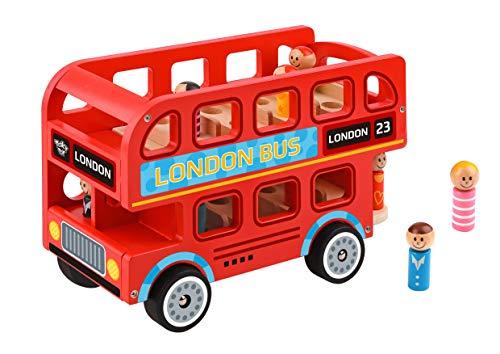 Tooky Toy Jeux en bois - rouge anglais Grand Bus londonien bois