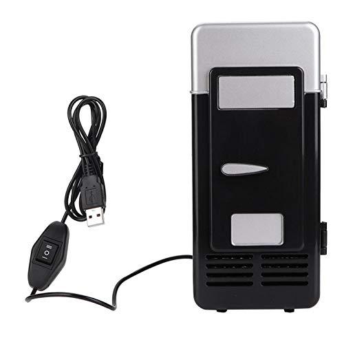 Mini lodówka USB z zamrażarką,Niski dźwięk,Chłodniejsze i cieplejsze,Łatwy do noszenia,Oszczędność czasu,Przenośna lodówka z wbudowanym oświetleniem LED do samochodu biurowego w akademiku(czarny)