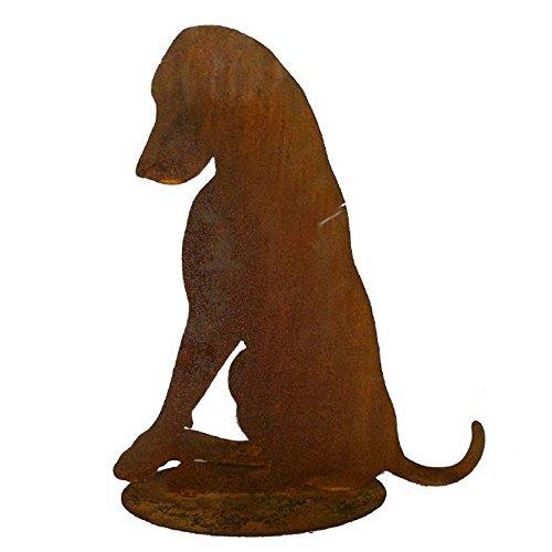 EQT-TEC Gartendekoration Hund Edelrost Figuren sitzend Garten Deko Dekoration Draußen